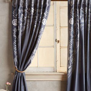 Embroidered Navy Curtain from Anthropologie